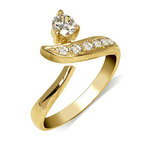 JewelryWeb Solid 10K Gold Adjustable Modern Bypass Cubic Zirconia CZ Toe Ring for women gold (8mmx15mm) (yellow-gold)