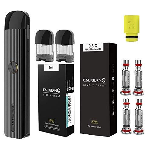 UWELL Caliburn G カリバーンジー ヴェポライザー + 交換用コイル0.8Ω(4pcs)+ 交換用POD(2pcs) + ドリップチップ(1個) オリジナル4点セット 電子タバコ スターターキット 正規品 (Black)