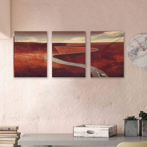 """MartinDecor Fantasy Triptych Art Absurd Scenic Road with Truck Extreme Winding Curve on Cliffs Theme Print 3D Hand-Painted On Canvas Perfect Home Decor Match Size, 24""""x47""""x3 Piece Dark Orange Cream"""