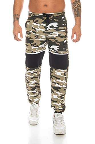 Raff&Taff Herren Sporthose Camouflage Hose Freizeithose Yogahose Sweathose Fußballhose Jogginghose (Helloliv(2904), L)