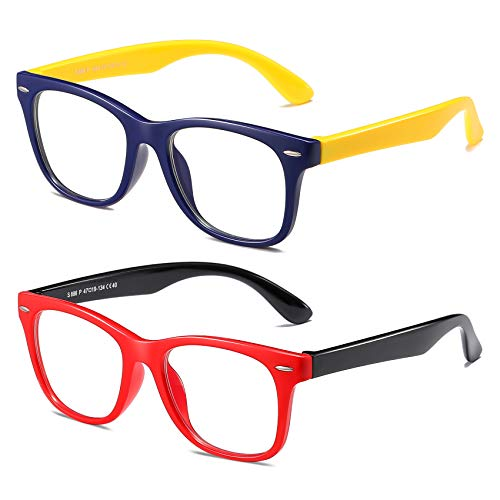 AHXLL Blue Light Blocking Glasses for Kids 2pack, Computer Gaming Video Glasses for Girls Boys Age 3-12, Anti Eyestrain (Red Black+ Dark Blue Yellow)