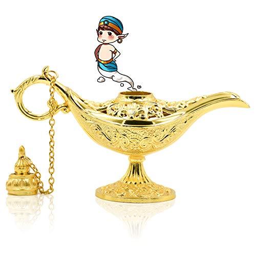 NATEE Aladdin Wunderlampe, Gold Metall Dekoration Öllampe, Klassische Dekoartikel Genielampe für Geschenk Dekoration Wein (11,5 x 4 x 7,5cm)