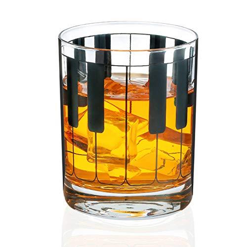 Vaso de whisky musical para hombre, hombre, hombre, diseño de llave de piano negra