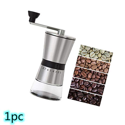 Precision Manual Coffee Grinder, CASIZ Because Hand Ground Coffee Beans Taste Best, Infinitely Adjustable Grind, Glass Jar, Stainless Steel Best For Espresso, French Press, Cold & Turkish Brew