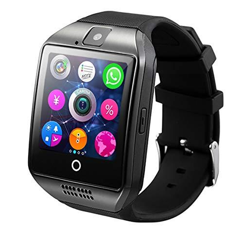 Smart Watch Men Q18 con Pantalla táctil Cámara Grande con Soporte para batería TF para teléfono Android (Color: Negro)