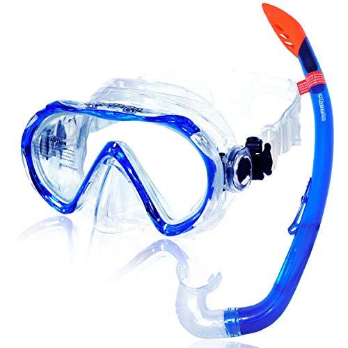 AQUAZON Korfu Hochwertiges Schnorchelset, Tauchset, Schwimmset, Schnorchelbrille mit Tempered Glas, Schnorchel mit semi Dry top für Kinder, Jugendliche Von 7-14 Jahren, Farbe:Blue
