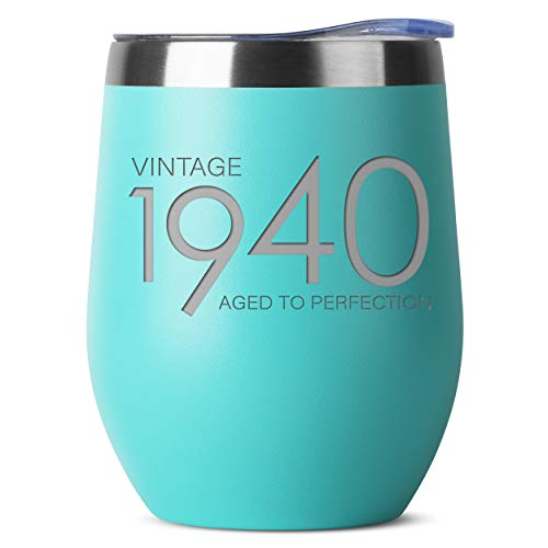 1940 80th Birthday Gifts for Women Men - 12 oz Mint Insulated Stainless Steel Tumbler w/Lid - Vintage 80 Year Old Best Gift Present Ideas for Mom Dad - Tumblers Party Decorations Supplies Presents