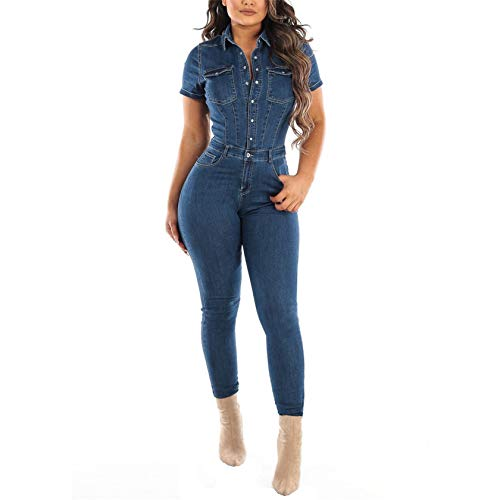 Generic Women?s Sexy Short Sleeve Night Club Denim Jumpsuits Rompers Mini Shorts One Piece Stretchy Rompers with Pocket (Large,Blue)