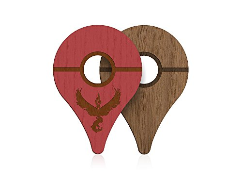 POKEWARES Shield for Pokemon GO Plus | Valor Red + Premium Walnut | Real Wood Cover Skin for Nintendo Accessory - PREORDER