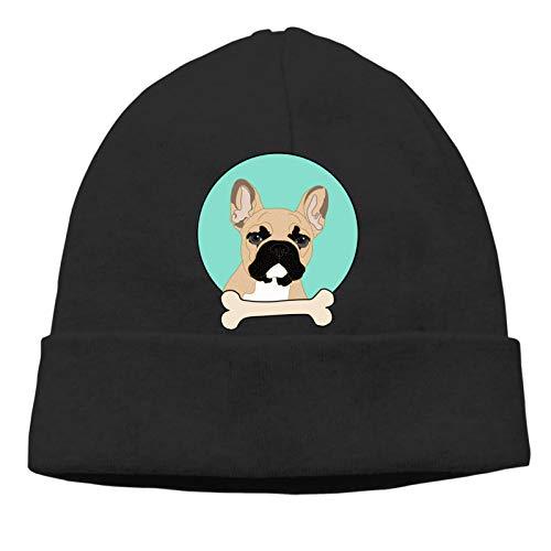 Unisex Skull Beanie Cap - French Bulldog Cuff Knitted Hat - Daily Warm Slouchy Hats