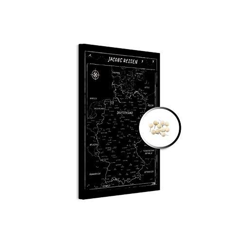 PinDeineWelt - Hochwertige SCHWARZ/WEIßE Reise Pinnwand DEUTSCHLANDKARTE Canvas - Pinnwand XXL - Personalisiert mit [Namen] – inkl. Pins und PERSONALISIERUNG, Größe: 80x60 cm