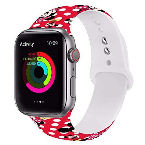 Ersatz-Armband für Apple Watch, kompatibel mit Apple Watch, 38 mm, 40 mm, 42 mm, 44 mm, modisch, niedliches verblasstes Muster, Mic_key bedruckt, für Damen Dis_ney SE/Series 6/5/4/3/2 42 & 44 mm