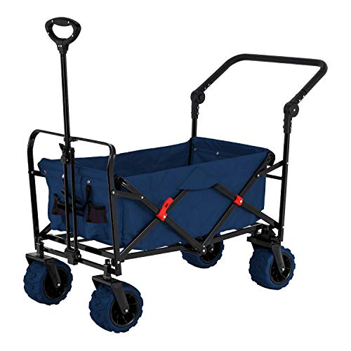 Blue Wide Wheel Wagon All Terrain Folding Collapsible Utility Wagon with Push Bar - Portable Rolling Heavy Duty 265 Lb Capacity Canvas Fabric Cart Buggy - Beach, Garden, Sporting Events, Park, Picnic