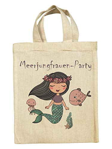 clothinx Lustige Kindergeburtstag Tasche Mitgebsel-Beutel im Set mit Geburtstag-Motto Meerjungfrau 5er Pack