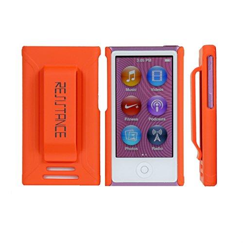 Resistance Schutzhülle für iPod Nano 7, iPod Nano 7. und 8. Hülle, stoßdämpfend, ergonomisch gummiert, mit integriertem Gürtelclip, Orange