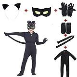 Kids Cat Cosplay Costume Boy's Girls Costume for Halloween Christmas Party Jumpsuit (Medium, black)
