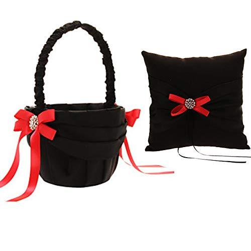 Wedding Black and Red Ring Bearer Pillow & Wedding Flower Girl Basket Set Wedding Accessories Supplies (Pattern B)
