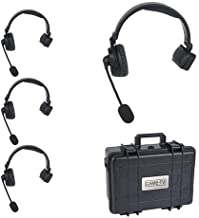 CAME-TV WAERO Hands Free Full Duplex Digital Wireless Headset Communication System with Hardcase (1 Master and 3 Remote Single Ear Headsets. 1200ft Los Range)