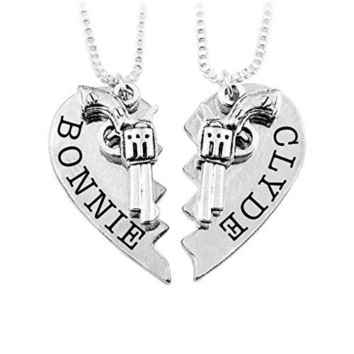Chunyang 2ST Halb Herz-Halskette Spielzeug-Form Herz-Puzzle Halskette Herz Puzzle Halskette Paar-Geliebte Paare Strickjacke-Ketten-Set