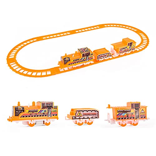 Battery Operated Train Race Track, Powered Highway Building Playset for Boys Girls Children