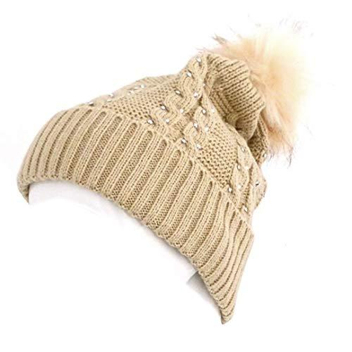 Novadis Berretto invernale da donna, accessorio invernale con strass beige
