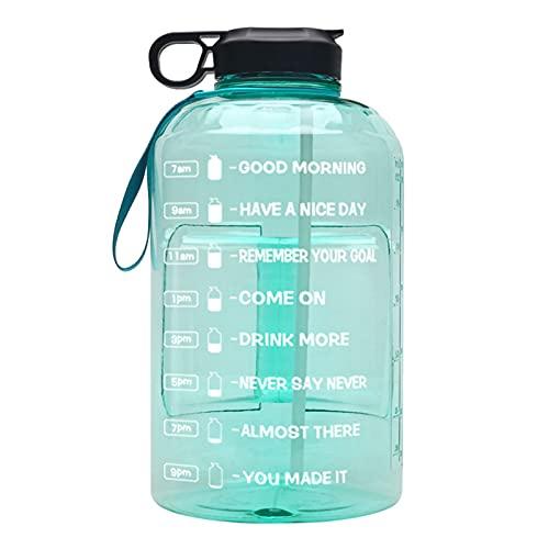 Botella de Agua de un Galón 3780ml con Pajita Botellas de Plástico Transparente para Beber Gym Tool Jarra Copa Deportiva Sin BPA para Gimnasio al Aire Libre,Green