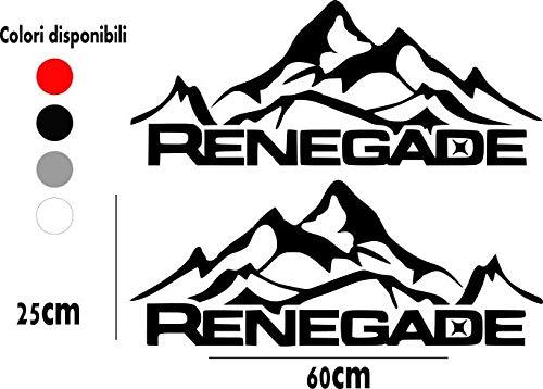 RENEGADE Coppia Adesivo Sticker per Auto Stella Jeep Compass Suzuki Terrano Nissan Universale Nero Bianco Argento Montagne Tuning