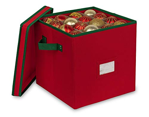 Primode Christmas Ornament Storage Box Organizer, 4 Layers with Dividers, Fits up to 64 Ornaments Balls, Holiday Decorations Accessories Storage Container, Constructed of Durable 600D Oxford Material (Red)