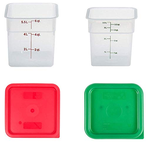 Cambro Containers With Lids - 4 Quart and 6 Quart Food Storage Set - 2 Pack