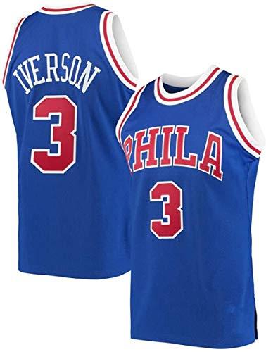 ATI-HSKJ Allen Iverson 3# Maglie, NBA Philadelphia 76Ers Maschile di Pallacanestro Vestiti Cool Traspirante Swingman Maniche Canotta Abbigliamento,XL