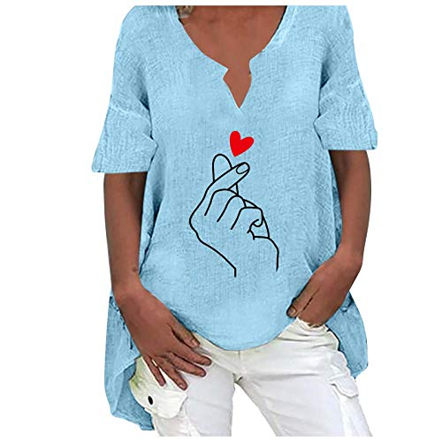 Blusen T-Shirt Damen Sommer Kurzarm V-Ausschnitte Loose Oversize Shirt Top Bluse Frauen Casual Butterflies Print Kurzarm Plus Size Baumwolle und Hanf Top Bluse (XXL,3blau)