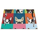 GAHAHA - Set di 4 tovagliette all'americana Boston Terrier per sala da pranzo, resistenti, lavabili e facili da pulire, resistenti alle macchie, Nero , 6 pezzi