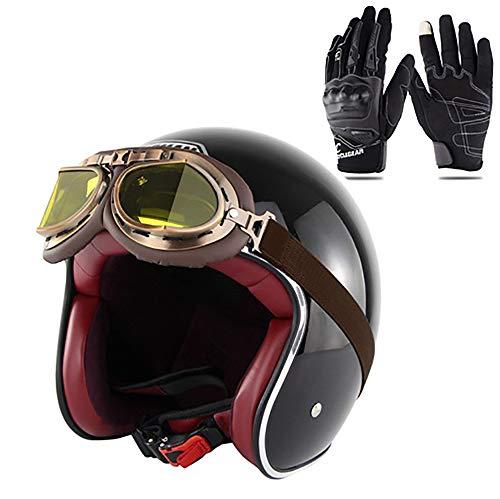 Xwenx Casco de motocicleta 3/4, aprobado por el DOT, casco de motocicleta, casco de motocicleta, casco unisex para adultos, casco abierto (gafas de regalo y guantes), negro, XXL