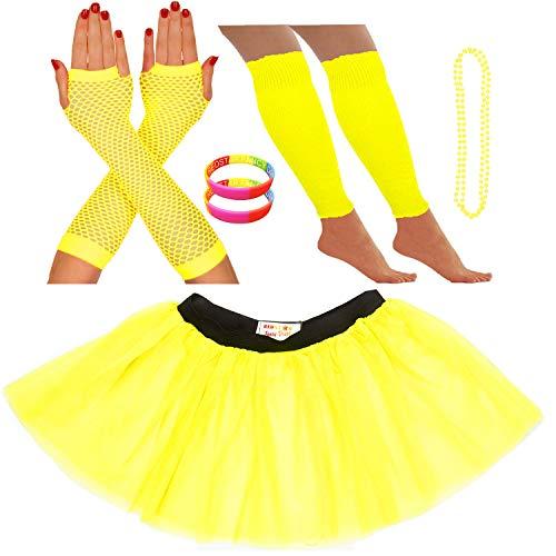 Redstar Fancy Dress® - Tutu-Röckchen, Beinstulpen, Netzhandschuhe, Perlenkette und breite Gummiarmbänder - Neonfarben - Gelb - 36-40