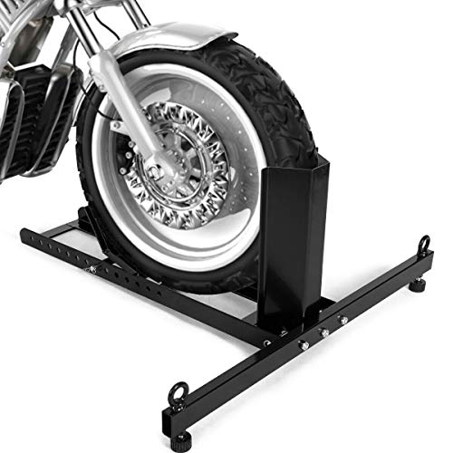 Goplus Motorcycle Wheel Chock Stand, Heavy Duty Adjustable Upright 1800lb Capacity Motorcycle Stand Wheel Chock Fits 15' - 22' Tires