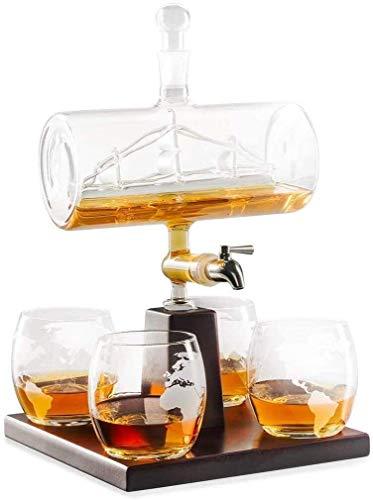 GUYUE Whisky la Jarra con 4 vidrios y Soporte de Madera de Roble, único sin Plomo del dispensador de licores de Whisky, Ron y Alcohol