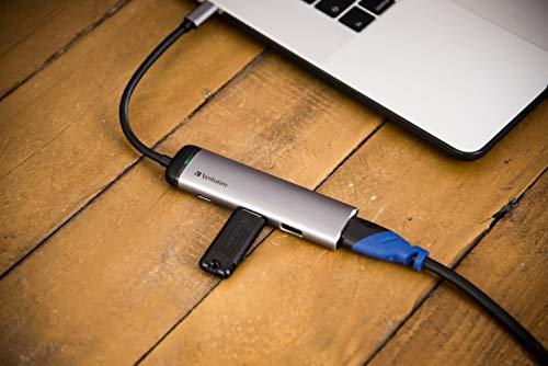 Verbatim USB-C Multiport-Adapter USB 3.0 - HDMI, 4K, USB-C-Hub mit Schnellladeanschluss für Laptop und MacBook, silber