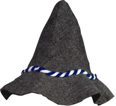 Seppel Hut Seppelhut Filzhut Bayern mit blau weißer Kordel für Feste, Fasching, Karneval, Oktoberfest