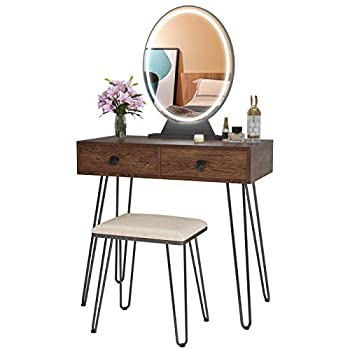 LVSOMT Vanity Table Set with Lighted Mirror & 2 Drawers Makeup Vanity Dressing Table with 3 Colors Touch Screen Dimming Mirror Dresser Desk and Cushioned Stool Set for Girl Women Bedroom,Brown