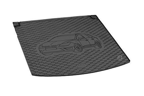 Passgenau Kofferraumwanne geeignet für Seat Leon ST/Kombi ab 2014 ideal angepasst schwarz Kofferraummatte + Gurtschoner