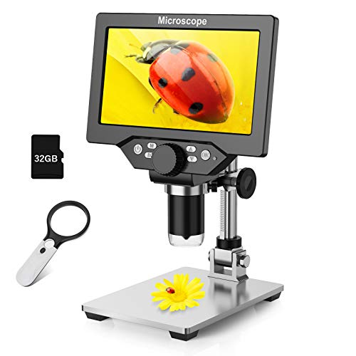7' LCD Digital Microscope for Kids Adults, 10-1200X Magnification Handheld Electronic Coin Microscope for Repair Soldering, 1080P Video Camera USB Microscope+32GB TF Card, 3X 45X Magnifier Glass