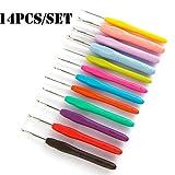 CSYP 14 piezas/juego de crochet ergonómico kit de ganchillo de ganchillo de mano cómodo tacto perfecto extra largo crochet