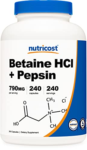 Nutricost Betaine HCl + Pepsin 790mg, 240 Capsules...
