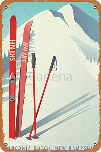 Carlena Franconia Notch,New Hampshire Ski Metal Art Tin Sign Vintage Foil Poster For Shop Bar Home Wall Decor 8X12Inch