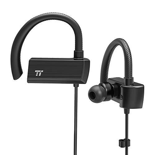 TaoTronics Cuffie Bluetooth Ear Wireless Sportive con Ganci Regolabili 360° Ore di Riproduzione Suono aptX Lossless Microfono Cancellazione del Rumore CVC 6.0 Impermeabile IPX5 a Prova di Sudore