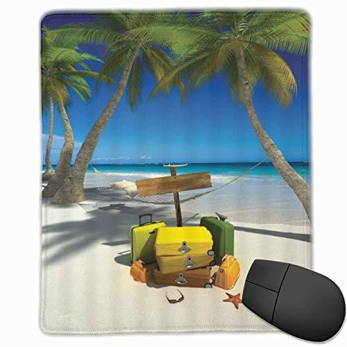 SURERUIM Alfombrilla Raton Ocean Beach Vacaciones Relajación Viaje de Verano Maleta Tropic Sea Palmera Hamaca Junto al mar Alfombrilla Gaming Alfombrilla para computadora con Base de Goma
