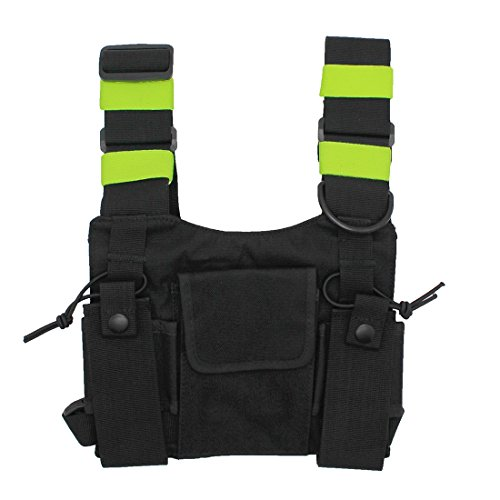 GoodQbuy Universal Radio Harness Chest Rig Bag Pocket Pack Holster Vest Fluorescent Green for Two Way Radio Walkie Talkie (Rescue Essentials)