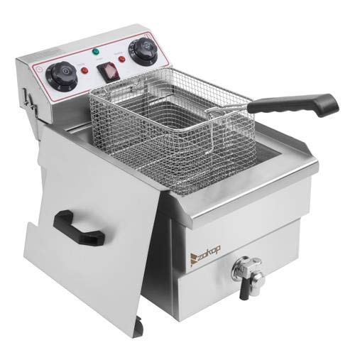8L Electric Deep Fryer w/ Basket Timer Drain & Lid, Single Tank Frying Machine, 1700W 110V 60HZ