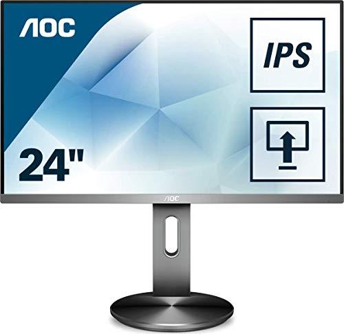 """AOC Monitores I2490PXQU/BT - Pantalla para PC de 23.8"""" (resolución 1920 x 1080 pixels, tecnología FlickerFree y LowBlue, contraste 1000:1, 4 ms, HDMI, Displayport, Regulable en altura), Negro"""