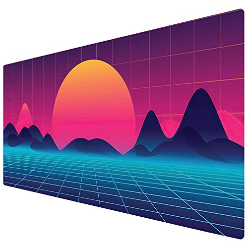 Bimor Extended Gaming Mouse Mat/Pad - Large, Wide (Long) Custom Professional Mousepad, Stitched Edges, Ideal for Desk Cover, Computer Keyboard, PC and Laptop (90x40 Sunrise)